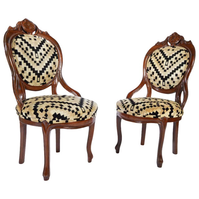 Victorian Parlor Chairs Having Carved Mahogany Frames With Art Deco Upholstery For Sale