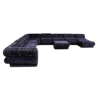 Mid Century Modern 9 Piece Modular Serpentine Blue Velvet Sectional Sofa by Kagan For Sale
