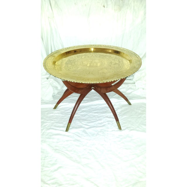 Round Chinese Brass Tray Table, MCM Teak Legs - Image 3 of 10