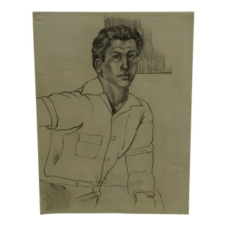 "1955 Mid-Century Modern Original Drawing on Paper, ""Handsome Man"" by Tom Sturges Jr"