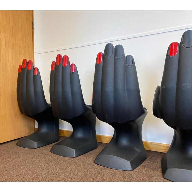 Black 1990s Vintage European Touch Black Hand Chairs - Set of 6 For Sale - Image 8 of 12