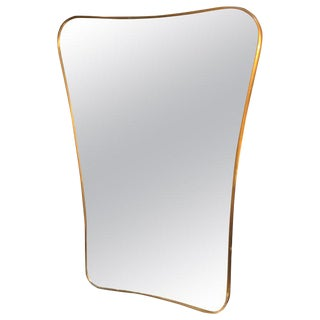 1950s Mid-Century Brass Frame Minimal Sculptural Wall Mirror For Sale