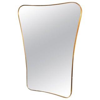 1950s Mid-Century Brass Frame Minimal Sculptural Wall Mirror