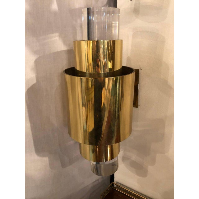 Metal Pair of Mid-Century Modern Karl Springer Brass and Lucite Wall Sconces For Sale - Image 7 of 12