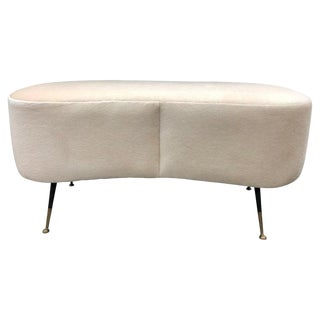 Mid-Century Italian Mohair Bench For Sale
