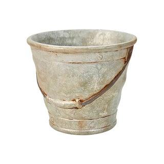 1970s Vintage Tin Bucket Ceramic Catchall For Sale