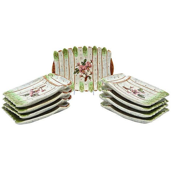 French Vallauris Asparagus Set- 9 Pieces - Image 1 of 3