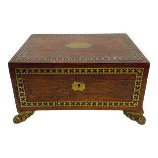 Antique Regency Box in Rosewood With Inlaid Ebony and Brass, English, Circa 1820 For Sale