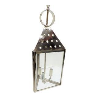 Triangular Three Lamp Pendant Lantern in Chrome For Sale