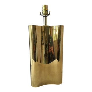 Art Deco Curved Brass Lamp