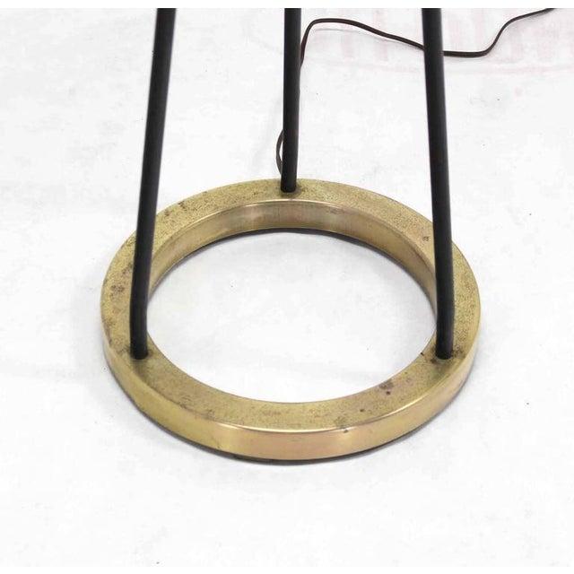 Tony Paul Round Brass Base Iron Spokes Mid-Century Floor Lamp For Sale - Image 4 of 6