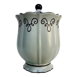 Chaleur Handpainted Canister in Ice Green For Sale