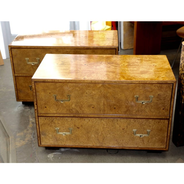 Mid Century Vintage Widdicomb Campaign Styles Nightstand in Burlwood- A Pair For Sale - Image 9 of 13