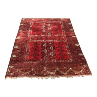 Vintage Hand Knotted Turkoman Rug For Sale