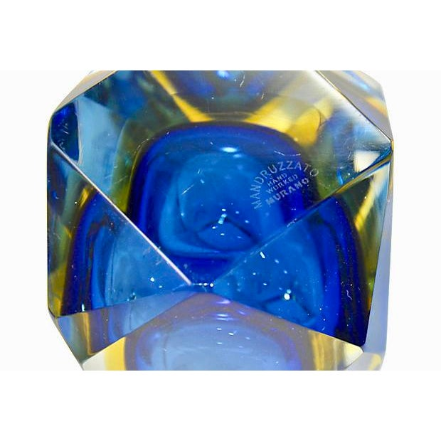 1960s Blue Murano Art Glass Vase, Signed Mandruzzato For Sale - Image 5 of 6