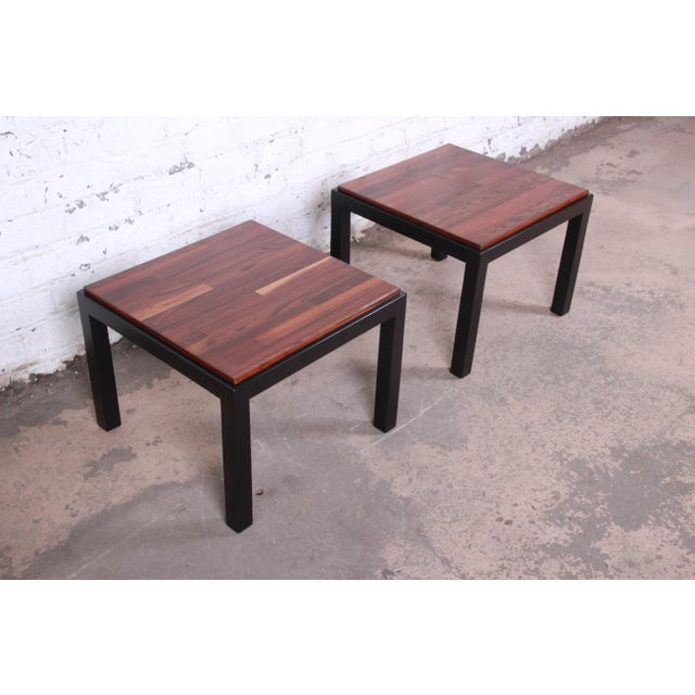 Milo Baughman for Thayer Coggin Walnut and Ebonized Wood Side Tables, Newly Restored For Sale - Image 9 of 9