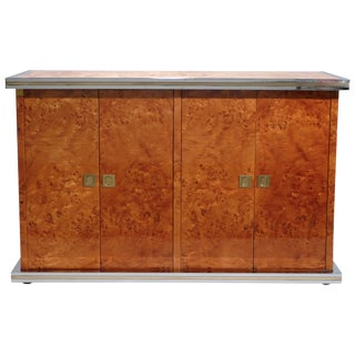 Willy Rizzo Burl Chrome and Brass Small Credenza, 1970s For Sale