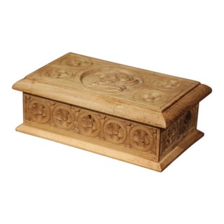 Early 20th Century French Carved Chestnut Box From Brittany Signed E. Bayon For Sale