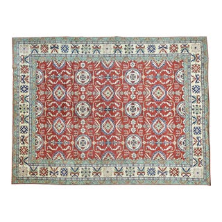 Wool Hand-Knotted Red Geometric Design Kazak Rug- 9′10″ × 13′ For Sale