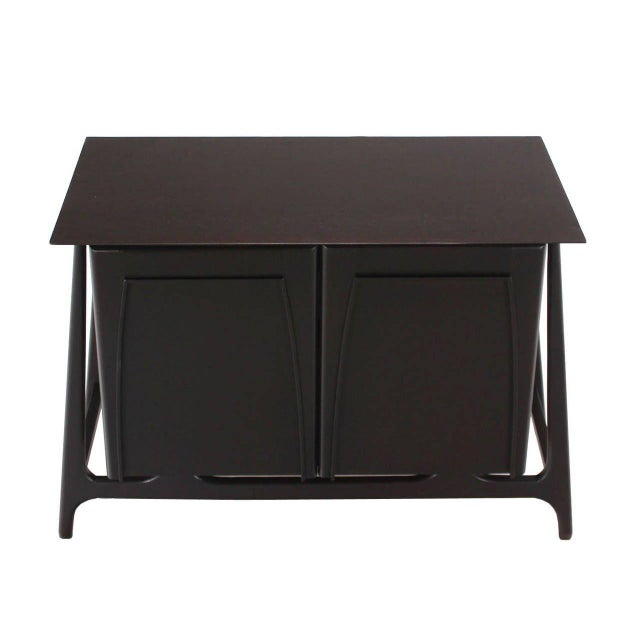 Brown Two-Door Sculptural Exposed Leg Ebonized Server Three-Drawer Bachelor Chest For Sale - Image 8 of 8