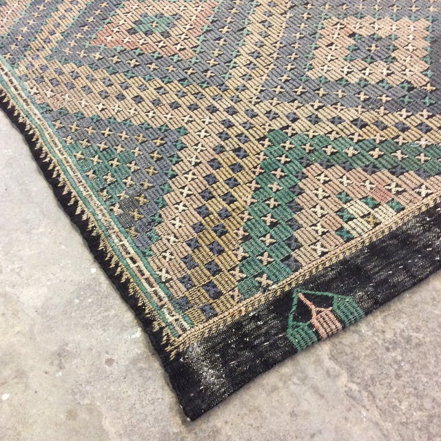 "Mid-Century Modern 1960's Turkish Sumac Kilim - 6'x11'6"" For Sale - Image 3 of 13"