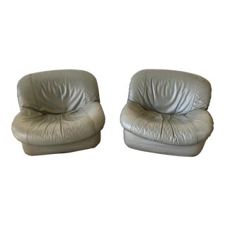 Italian Gray Leather Swivel Chairs - a Pair For Sale