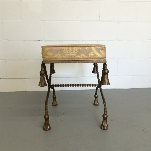 Vintage Gilt Metal Rope Bench - Image 5 of 6