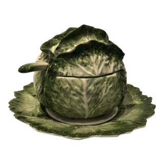 1970s Vintage Lovely Lettuce Leaf Soup Tureen For Sale