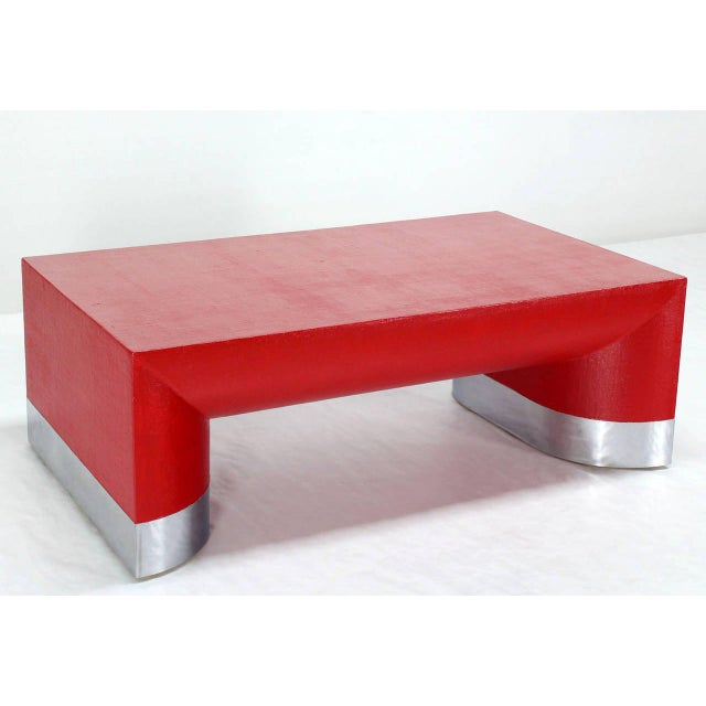Silver Large Rectangle Grass Cloth Mid-Century Modern Coffee Table in Fire Red For Sale - Image 8 of 8