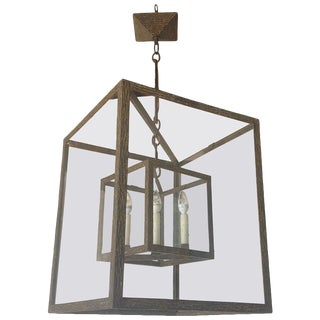 Large Wrought Iron Square Lantern For Sale
