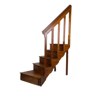 Antique English Oak Library Steps For Sale