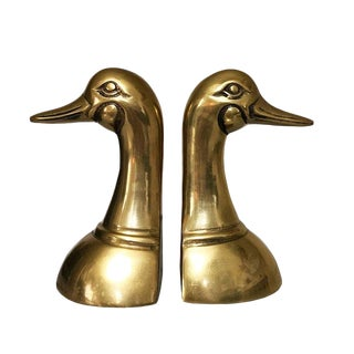 Cast Brass Duck Head Bookends - a Pair For Sale