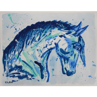Chinoserie Painting of Horse in Blue by Cleo For Sale