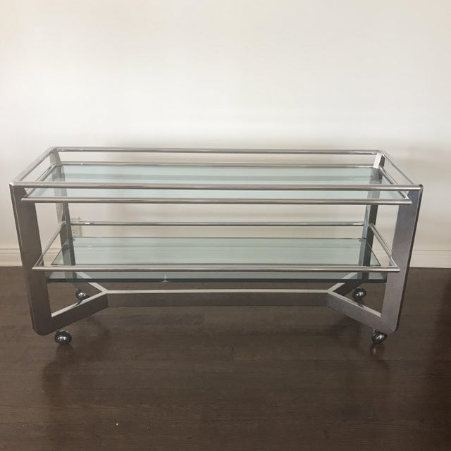 Wheeled buffet Chrome and glass Heavyweight item Well made and sturdy Exceptional Piece Shipping To be decided