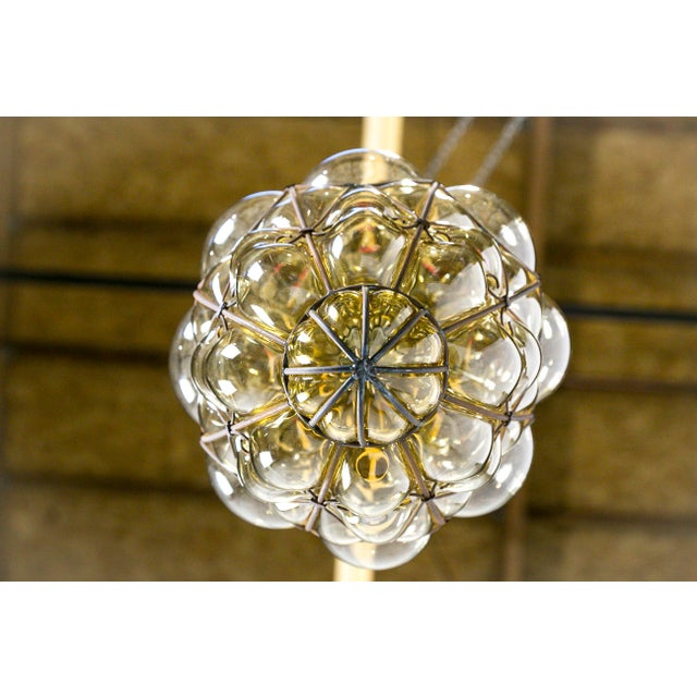Italian Iron Wire & Blown Glass Pendant For Sale In San Francisco - Image 6 of 13