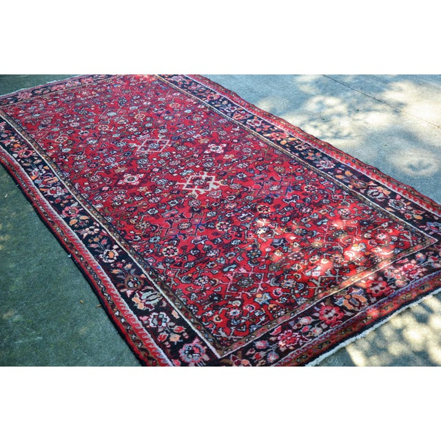 "Persian Distressed Floral Carpet - 9' 4"" X 4' 8"" For Sale - Image 11 of 12"