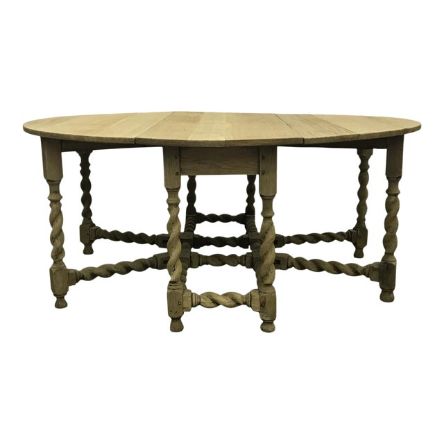 Bleached Oak Gate Leg Dining Table - Image 1 of 9