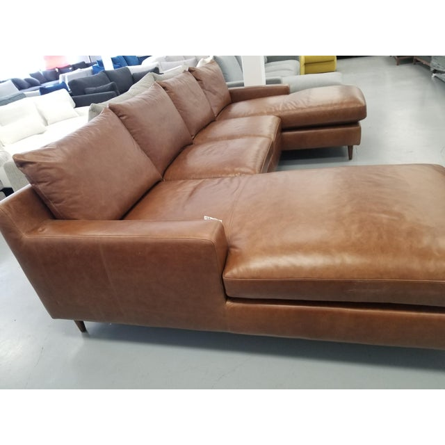 Brown Leather U-Shaped Sectional Sofa For Sale - Image 4 of 8