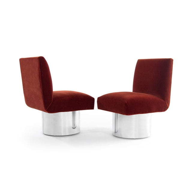 Milo Baughman Milo Baughman Swivel Chairs on Drum Nickel Bases For Sale - Image 4 of 10