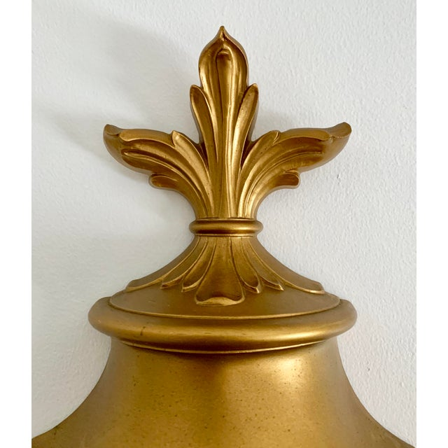 Vintage Art Deco Wall Hanging Gold Fountain For Sale - Image 4 of 6