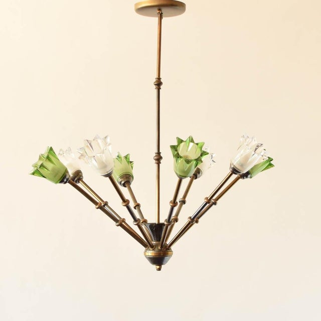 Mid-Century Modern Mid 20th Century Glass and Brass Mid Century Chandelier For Sale - Image 3 of 3