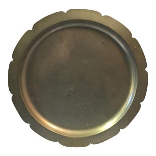 Vintage Round Pewter Tray With Petal Edge For Sale