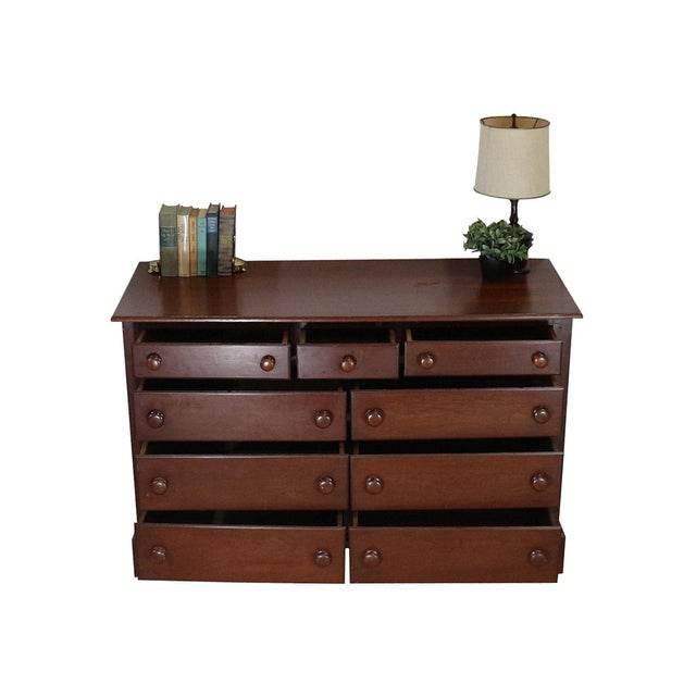 1940s Solid Wood Low Double Drawers Dresser - Image 3 of 4