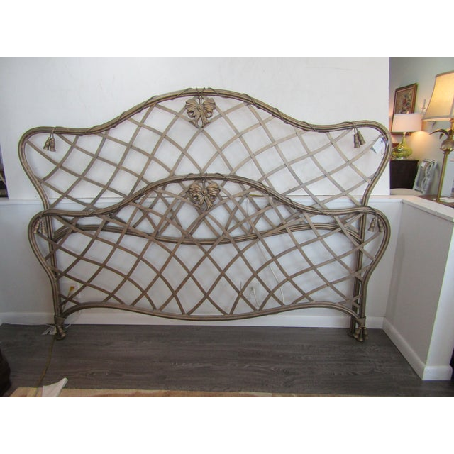 1990s Art Nouveau Iron Bow and Tassel King Bedframe For Sale - Image 10 of 11