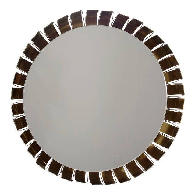 Large Mid Century Bronze Frame Back Lit Mirror For Sale