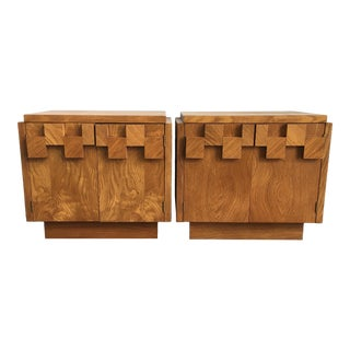 Vintage Mid Century Brutalist Nightstands by Lane-a Pair For Sale