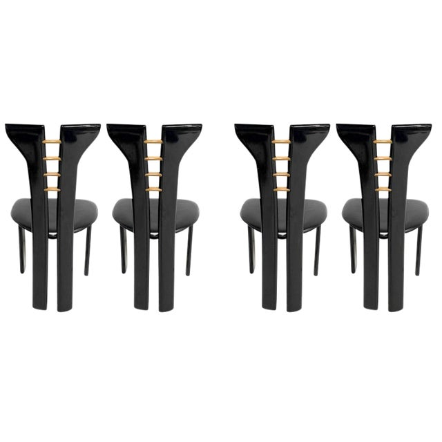 1970s Pierre Cardin Sculptural Black Lacquer Chairs With Leather Seats - Set of 4 For Sale