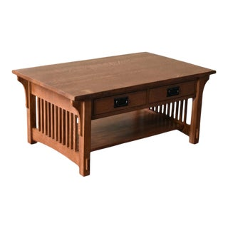 Crafters and Weavers Crofter 4 Drawer Coffee Table With Spindles - Golden Brown For Sale