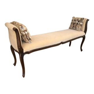 Antique French Provincial Carved Mahogany Mohair Bench For Sale