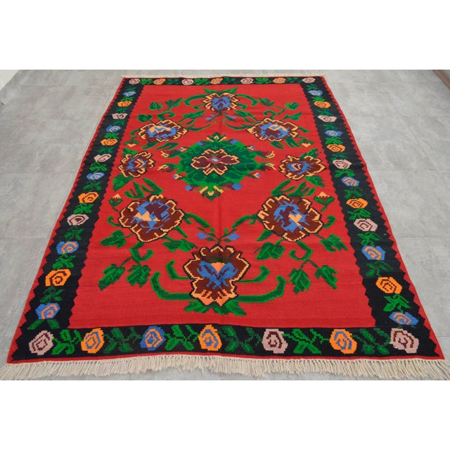 Islamic Vintage Turkish Floral Kilim Area Rug - 5′3″ X 7′5″ For Sale - Image 3 of 8